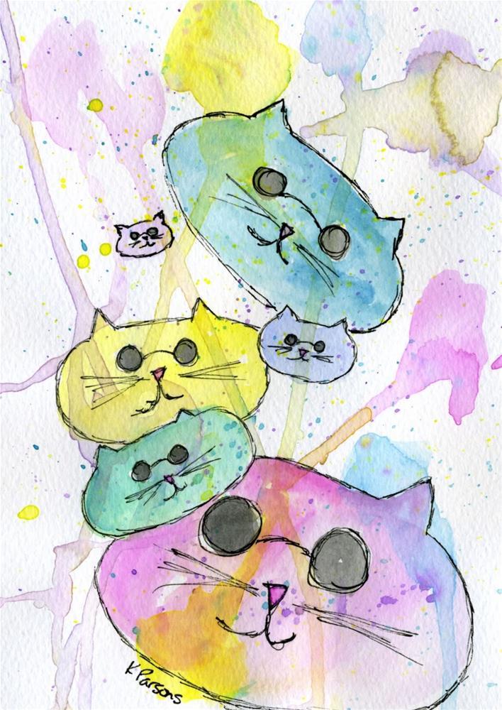 """Cool Cats"" original fine art by Kali Parsons"