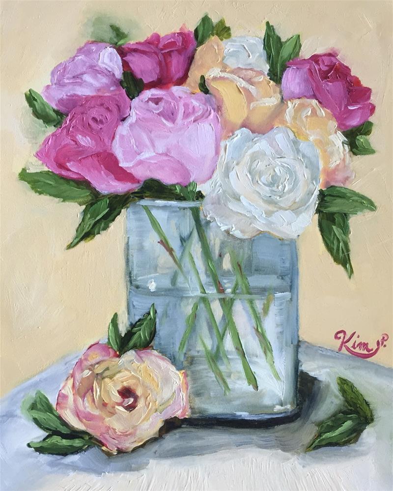 """""""Muliticolored Roses in Glass Vase"""" original fine art by Kim Peterson"""