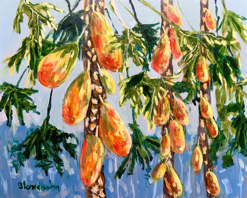 """Papaya Trees"" original fine art by Linda Blondheim"