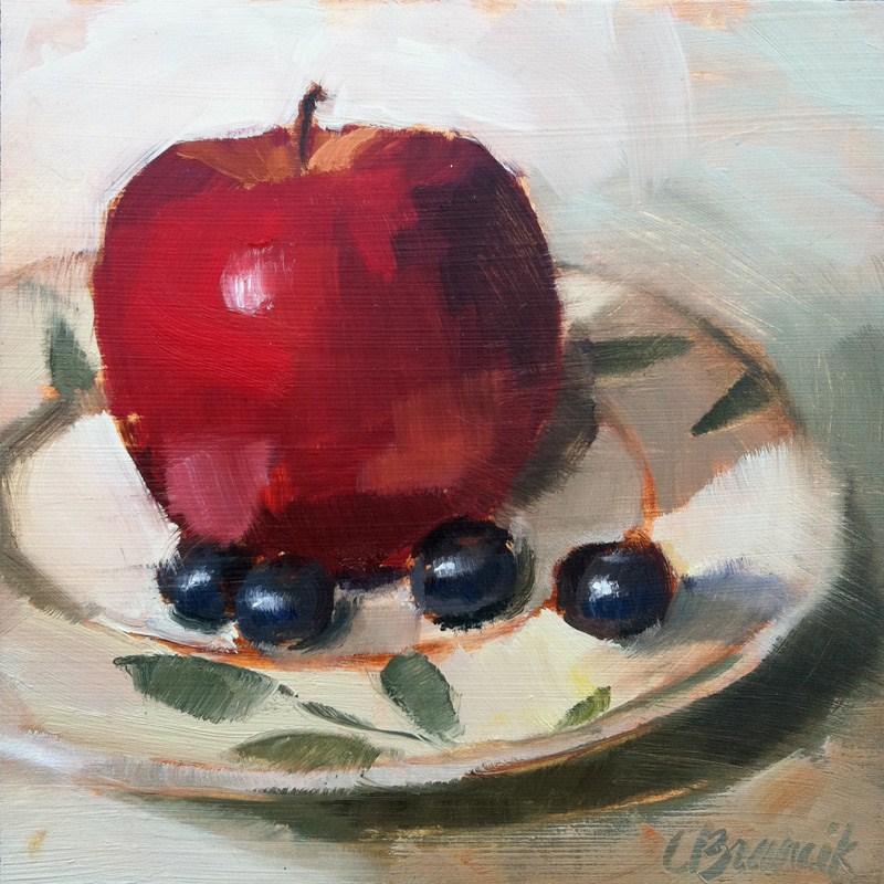 """Apple & Blueberries"" original fine art by Candace Brancik"