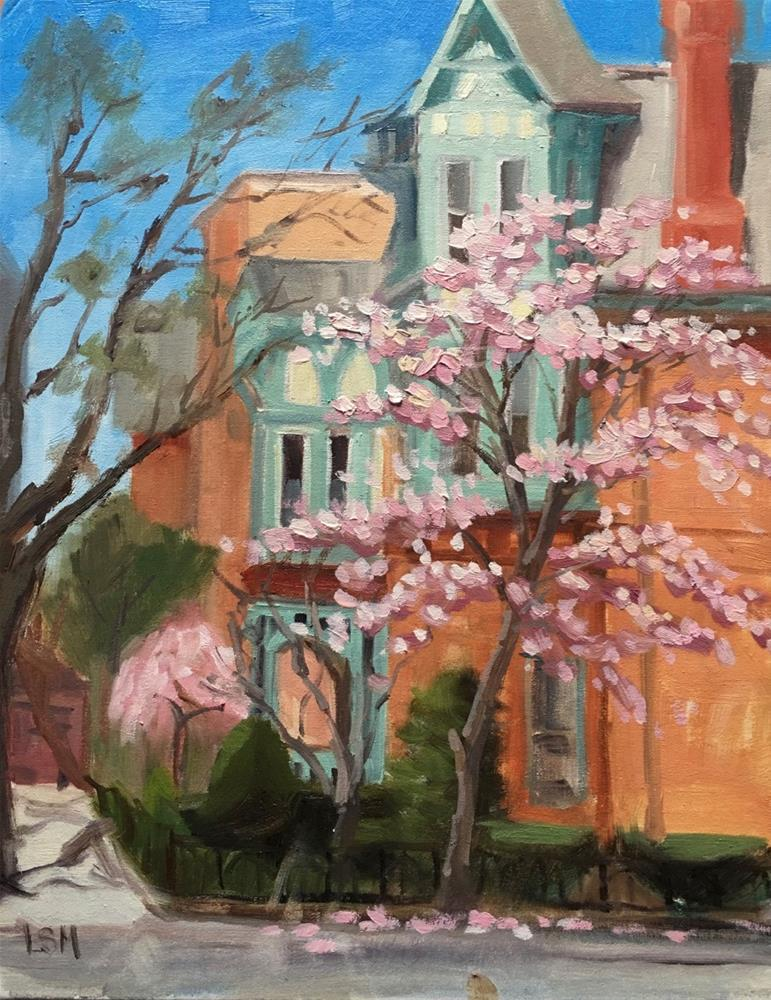 """Pink Rain, Wooster Square, New Haven, CT"" original fine art by Linda Marino"