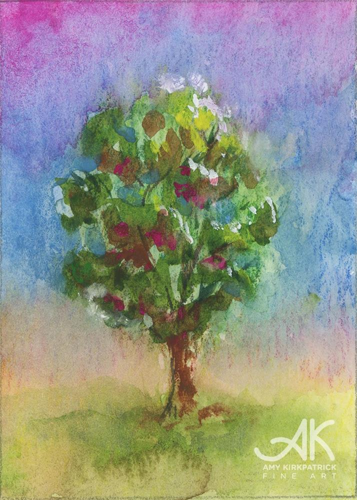 """TREE #22 (ACEO) #0671"" original fine art by Amy Kirkpatrick"