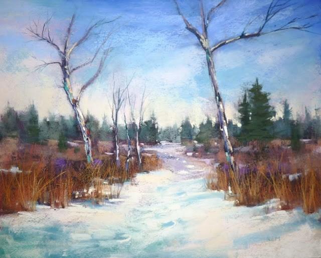 """Reworking a Winter Landscape"" original fine art by Karen Margulis"