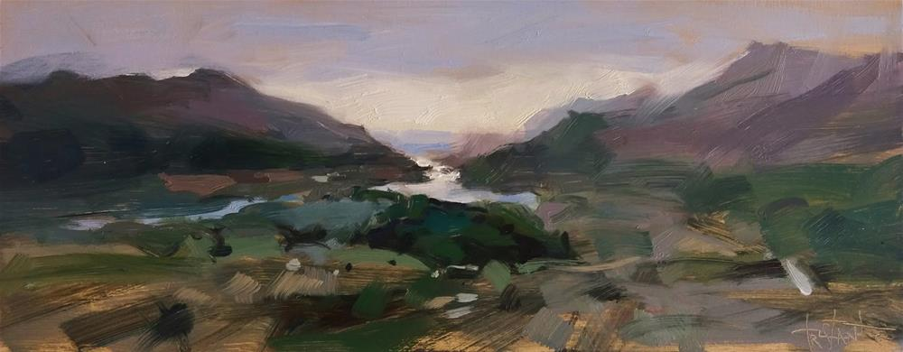"""Misty valley"" original fine art by Víctor Tristante"