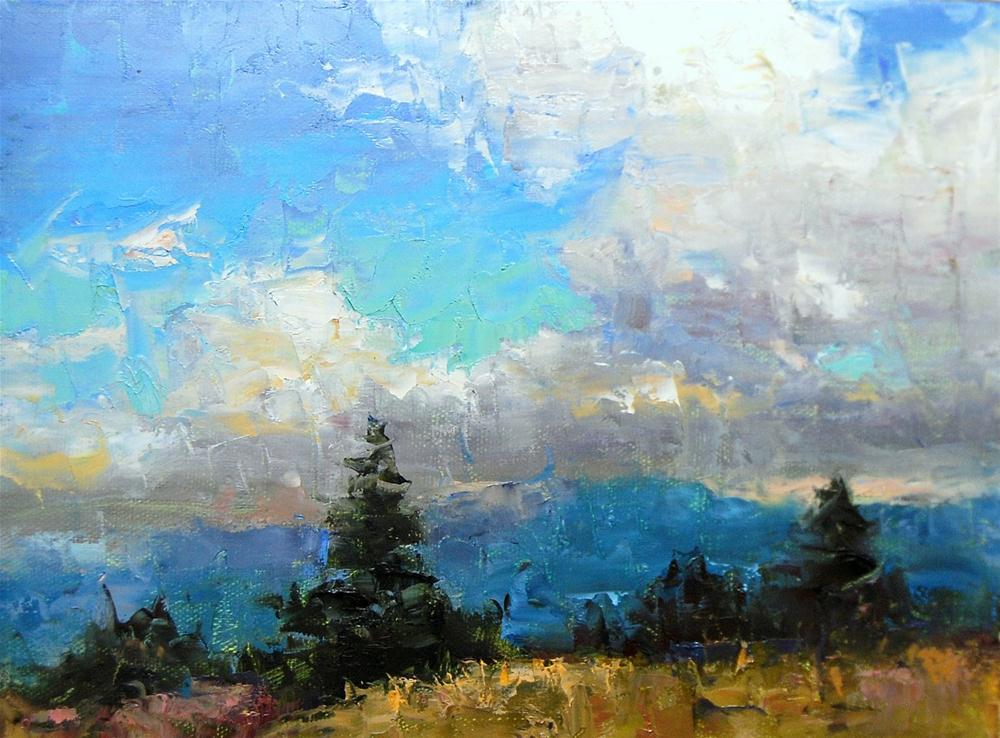 """""""Cloudy Day in the Rockies"""" original fine art by Julie Ford Oliver"""