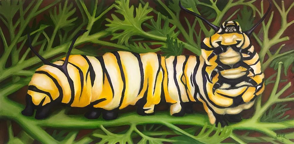 """""""Hungry Caterpiller"""" original fine art by Joetta Currie"""