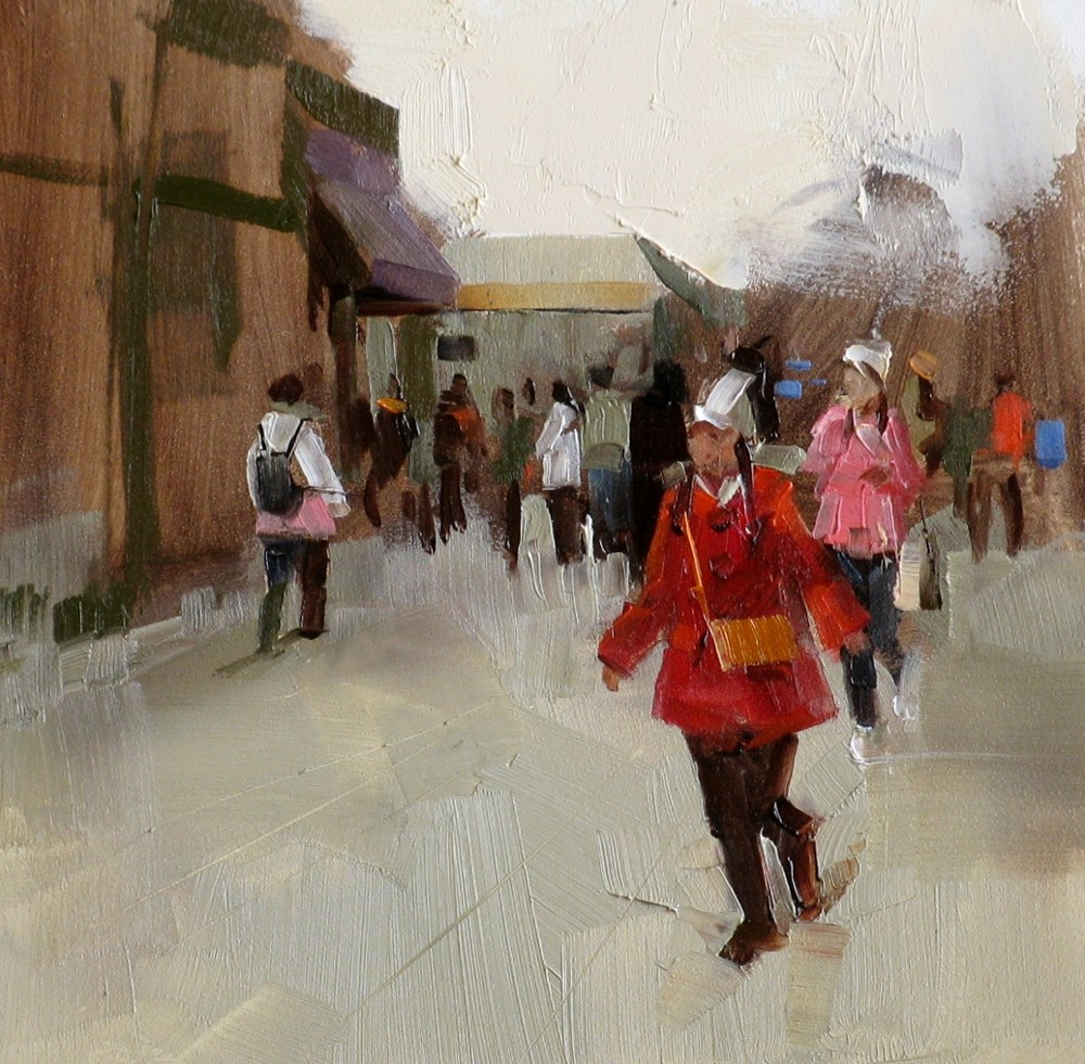 """On a Street"" original fine art by Qiang Huang"