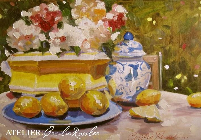 """Yellow planter"" original fine art by Cecilia Rosslee"