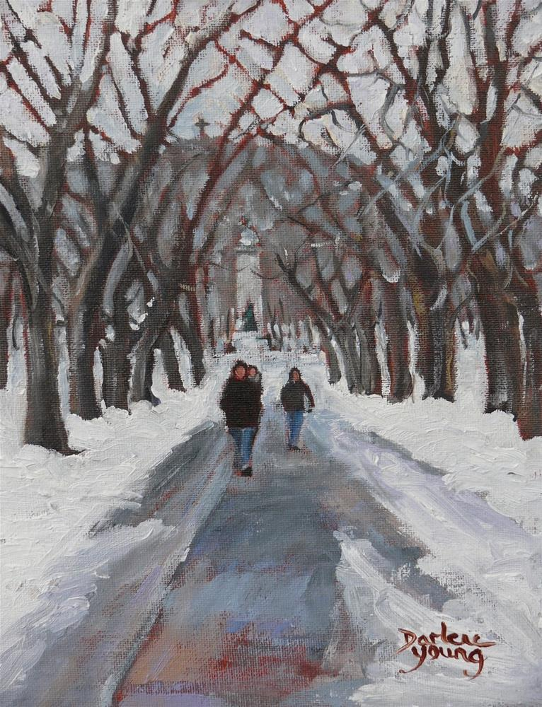 """1068 Mont-Royal, Montreal Winter Scene, 8x10, oil on board"" original fine art by Darlene Young"