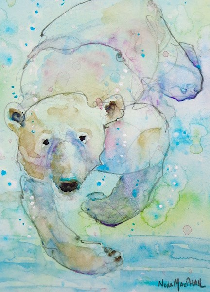 """in the swim of things"" original fine art by Nora MacPhail"