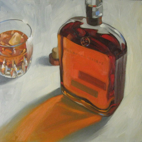 """""""Woodford Reserve on the rocks  12x12 oil"""" original fine art by Claudia Hammer"""