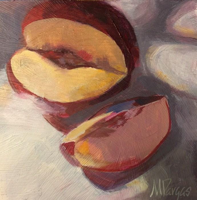 """Nectarine In Dappled Light"" original fine art by Mary Pargas"