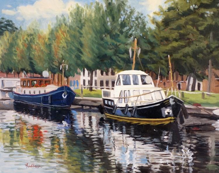 """Boats in Brugge Belgium"" original fine art by Daniel Fishback"