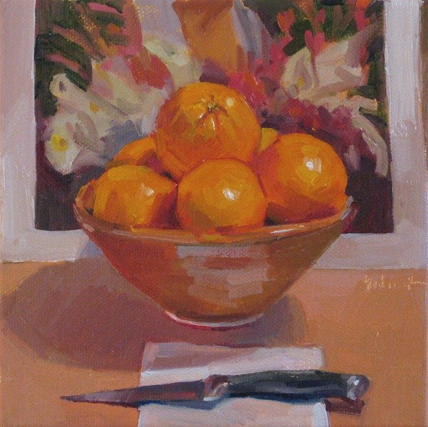 """Citrus Offering still life oil painting fruit bowl oranges fine art and a Facebook giveaway"" original fine art by Sarah Sedwick"