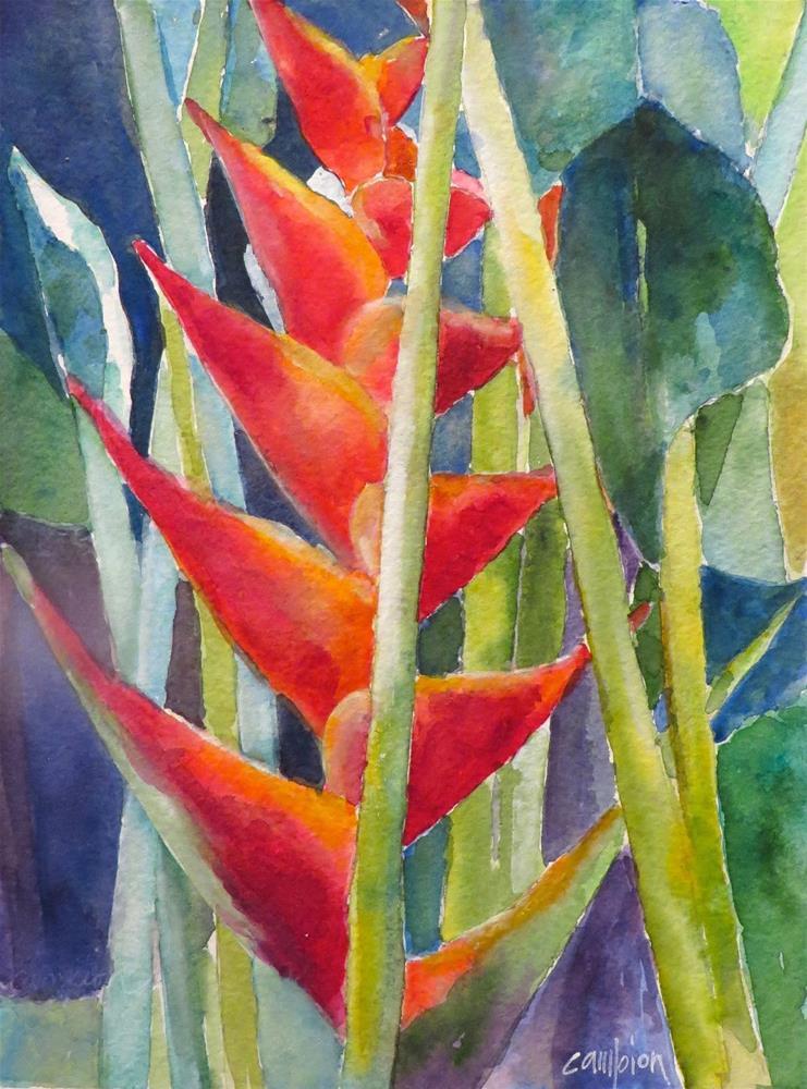 """818 Heliconia"" original fine art by Diane Campion"