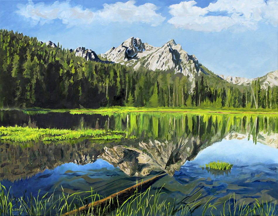 """Stanley Lake Reflections (Prints available)"" original fine art by Andy Sewell"