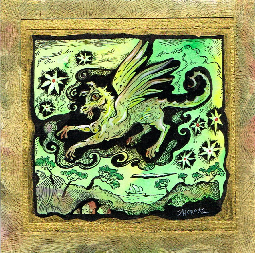 """Dragon of Seven Stars, FRAMED"" original fine art by Theresa Taylor Bayer"