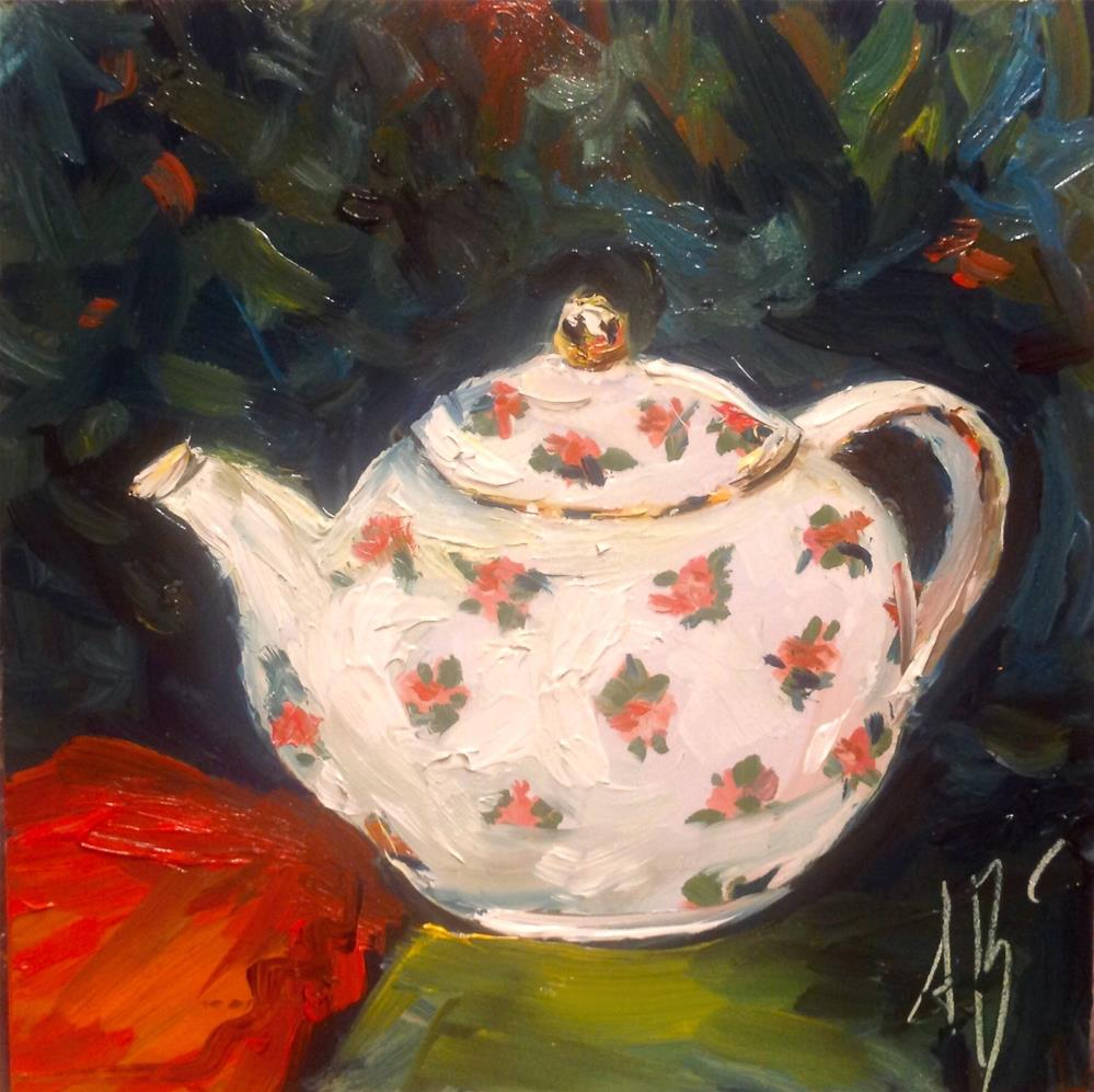 """Teapot / Red Napkin"" original fine art by Annette Balesteri"