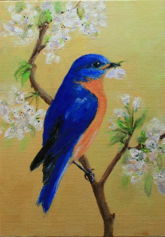 """Bluebird with Blossom"" original fine art by Jean Nelson"