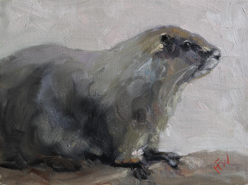 """Groundhog"" original fine art by H.F. Wallen"
