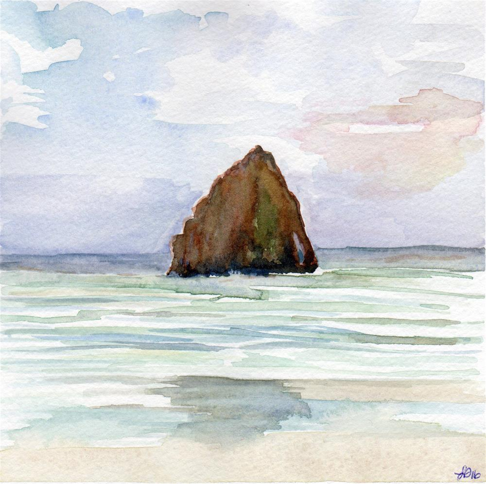 """Hay Stack Rock in Sun"" original fine art by Laura Denning"