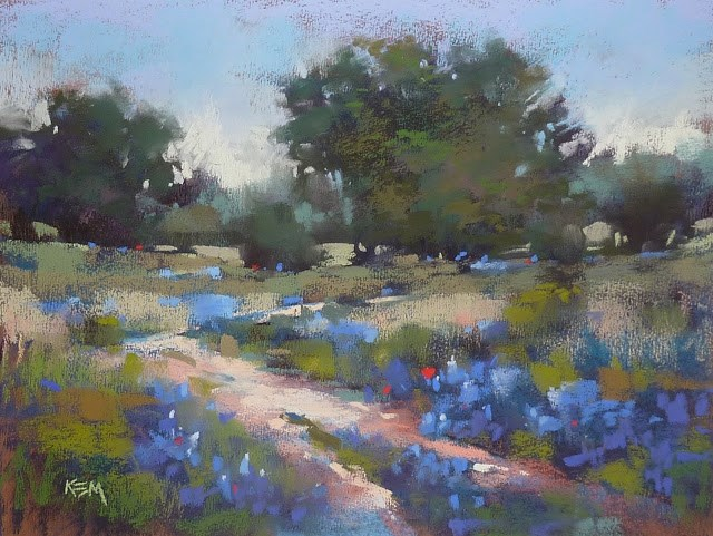 """Why Choose a Blue Underpainting for Bluebonnets?"" original fine art by Karen Margulis"