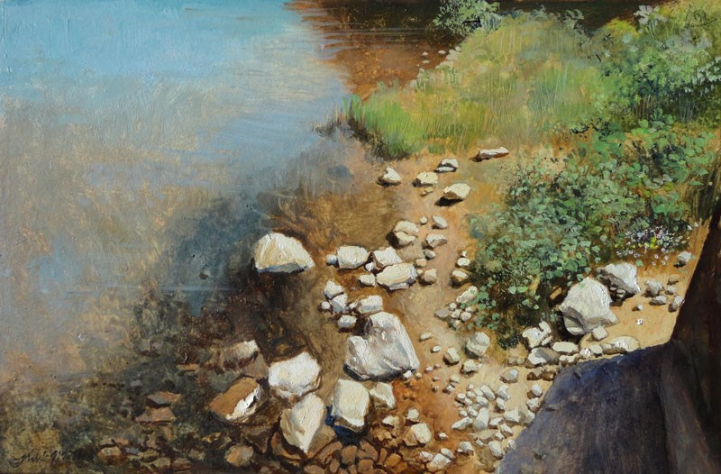 """Rocky Shore"" original fine art by Kirk Miller"