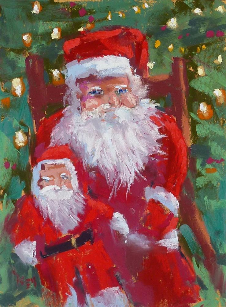 """Holiday Painting Break....Painting Santa"" original fine art by Karen Margulis"