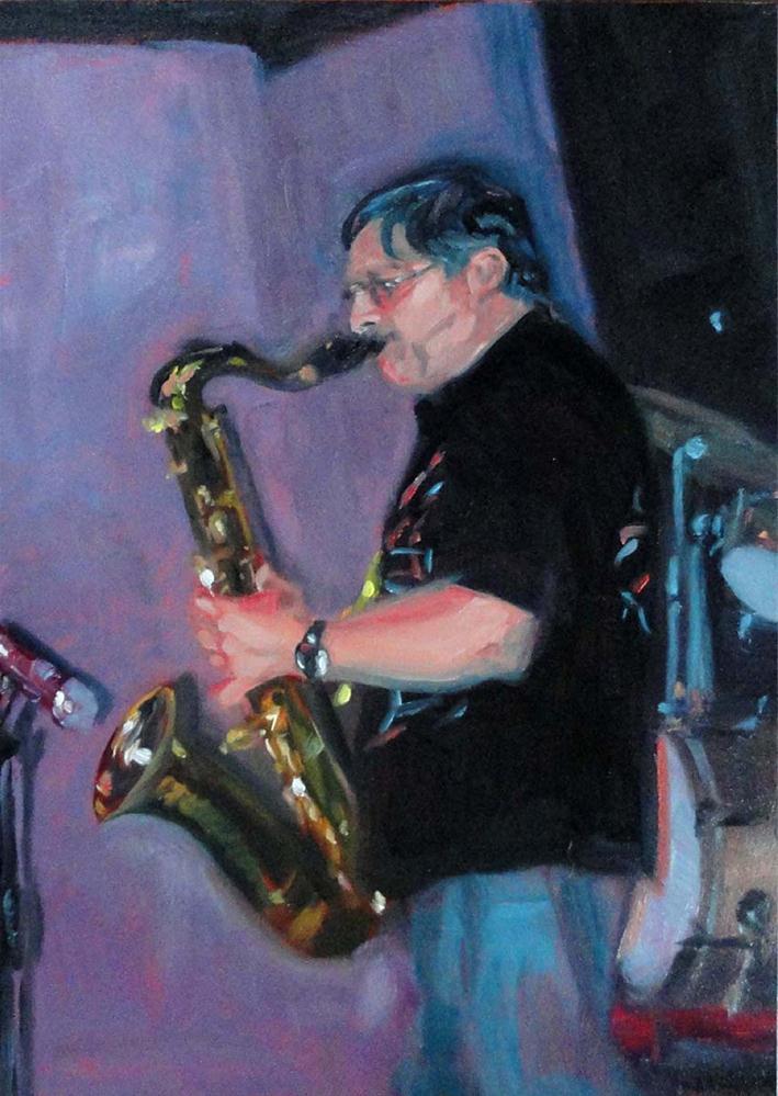 """Humboldt Time (Sax Player #2)"" original fine art by Cietha Wilson"