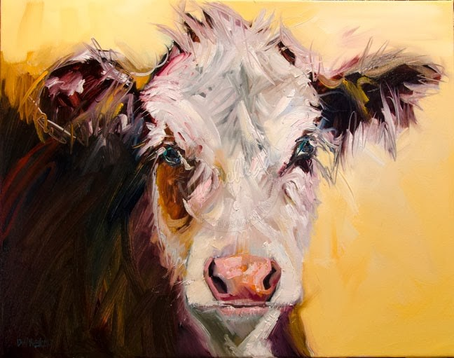 """ARTOUTWEST DIANE WHITEHEAD BED HEAD COW ANIMAL ART OIL PAINTING ORIGINAL"" original fine art by Diane Whitehead"