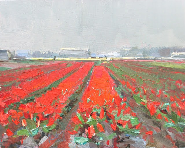 """Landscape spring #7 Red fields and overcast day"" original fine art by Roos Schuring"