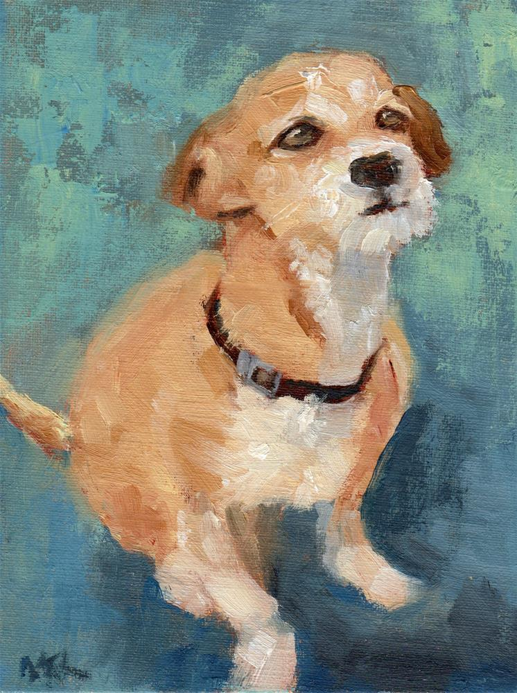 """A Scrappy Looking Dog"" original fine art by Marlene Lee"