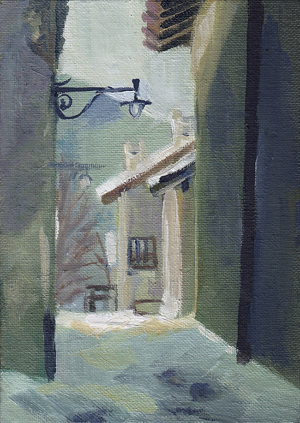 """Sauze d'Oulx Street"" original fine art by J M Needham"