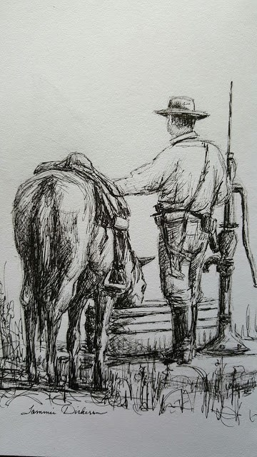 """""""Watering the Horse"""" original fine art by Tammie Dickerson"""