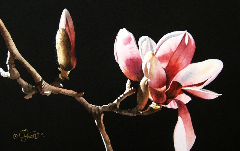 """Spring Magnolias"" original fine art by Jacqueline Gnott, TWSA, WHS"