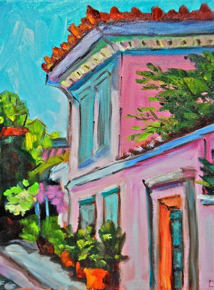 """""""Mediterranean Village Street"""" original fine art by Liz Zornes"""