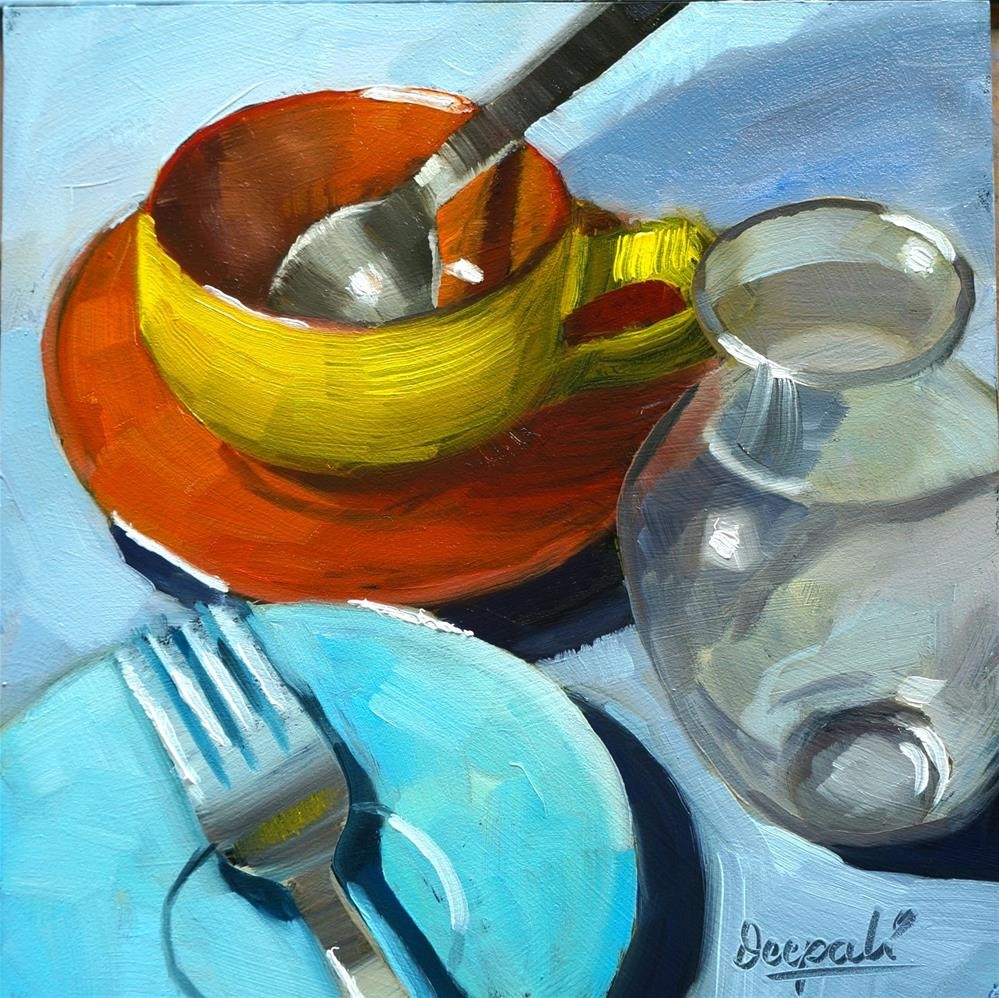 """tea cup with Spoon"" original fine art by Dipali Rabadiya"