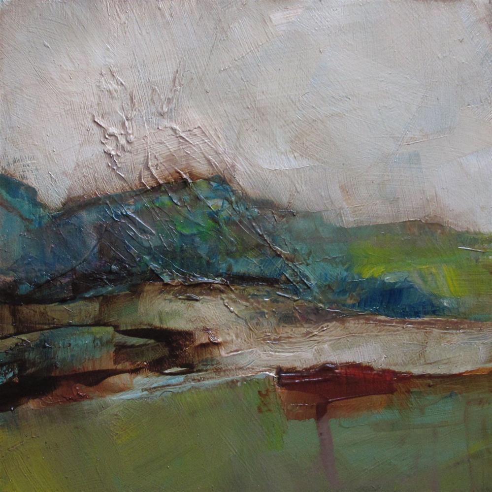 """BLUE RIDGE MOUNTAINS CONTEMPORARY ABSTRACT Art 4X4 Painting OIL"" original fine art by Colette Davis"