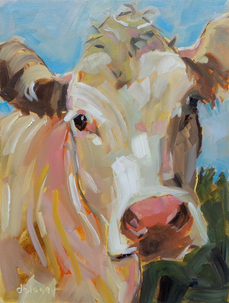 """Cow 100 LIVIN THE LIFE"" original fine art by Jean Delaney"