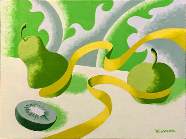 """""""Mark Adam Webster - Abstract Geometric Still Life With Fruit Painting in Green"""" original fine art by Mark Webster"""