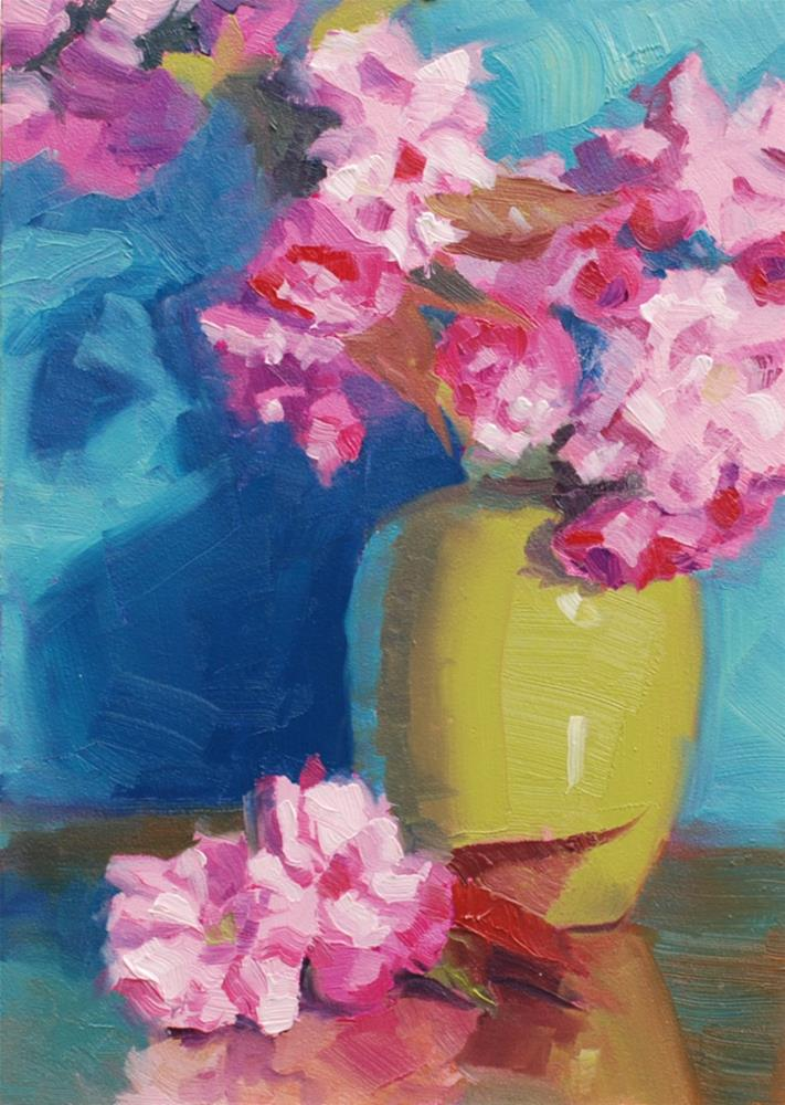 """Cherry Blossoms with Green Vase"" original fine art by Susan McManamen"