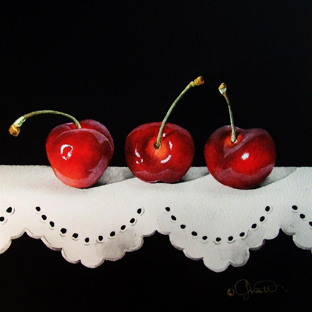 """Cherries on Lace"" original fine art by Jacqueline Gnott, TWSA, WHS"