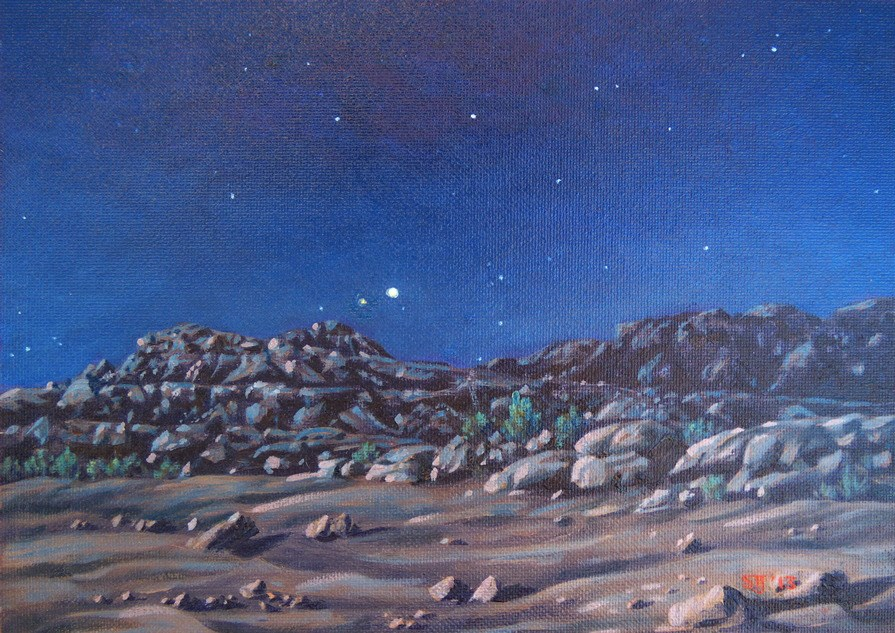 """C1496 ""First Night in the Desert … Venus Setting beneath a Desert Moon"" (near Recapture Pocket, Utah)"" original fine art by Steven Thor Johanneson"