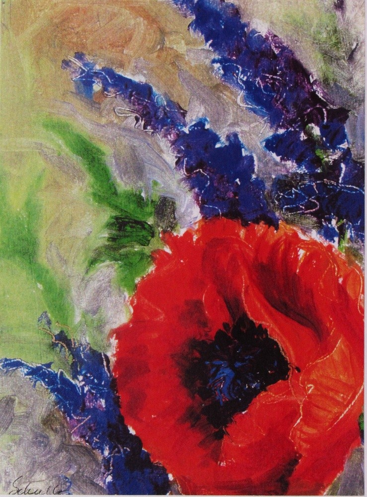 """First Poppy and Sage"" original fine art by Lynne Schulte"