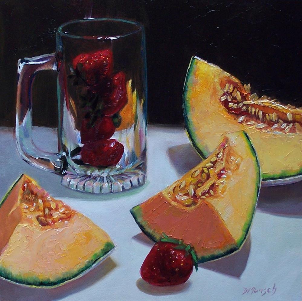 """Strawberry Splits Melon"" original fine art by Donna Munsch"