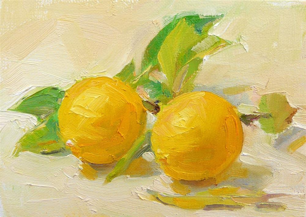 """""""Meyer Lemons,still life,oil on canvas,5x7,price$175"""" original fine art by Joy Olney"""