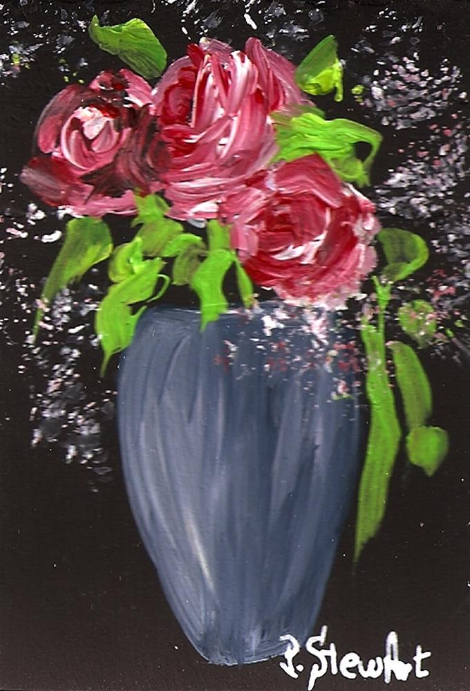 """""""ACEO Red Roses and Baby's Breath Flowers in a Blue Grey Vase"""" original fine art by Penny Lee StewArt"""