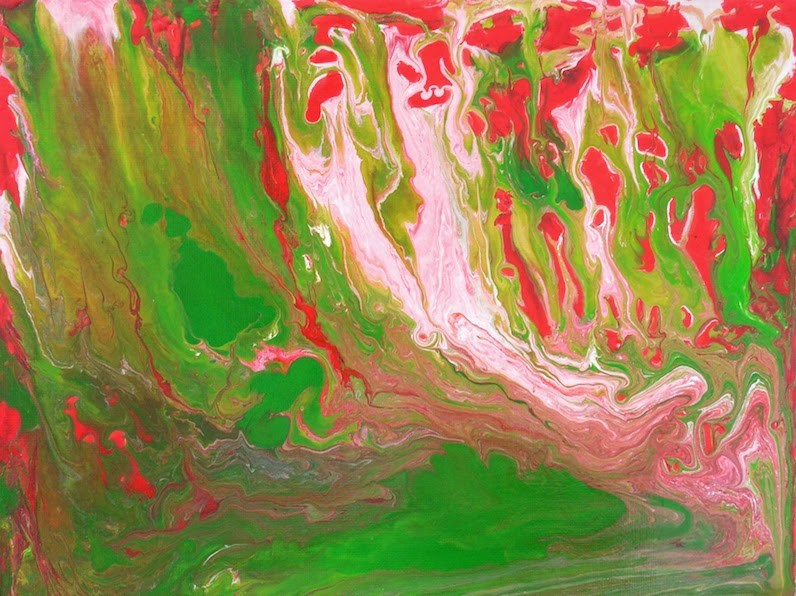 """""""Fairy Forest, 9x12 Abstract painting, Acrylic on Canvas Panel, Pink and Green"""" original fine art by Carmen Beecher"""