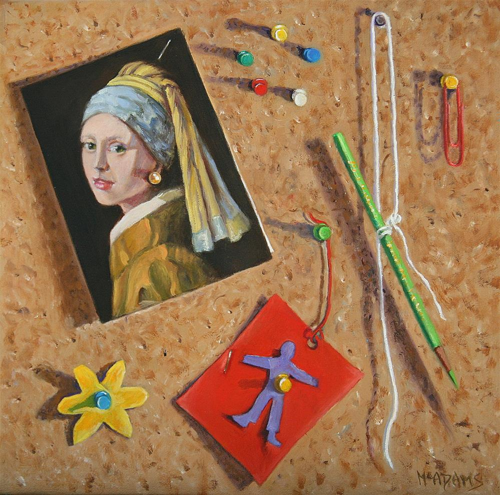 """""""Pin-up Girl with a new pearl earring."""" original fine art by Phyllis McAdams"""