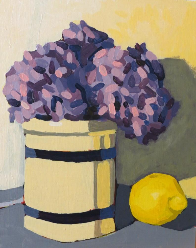 """""""Hydrangeas with lemon"""" original fine art by Joan Wiberg"""